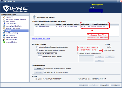 Vipre Antivirus Definitions aren't Updating