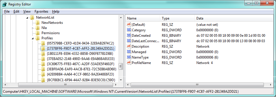 Change a Network Location in Registry Editor Step 4