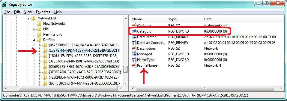Change a Network Location in Registry Editor Step 5