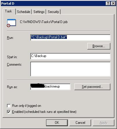 Portal D NTBackup Alerts for Server 2003