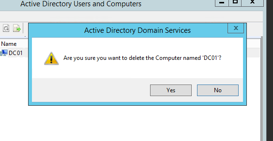 Step 6 Manually Demoting, Removing and Decommissioning a SBS Server