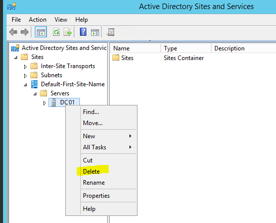 Step 12. How to Manually Demote, Remove, and Decommission a SBS Server
